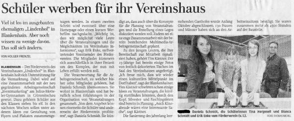 Unterstützung durch das Gymnasium Crimmitschau